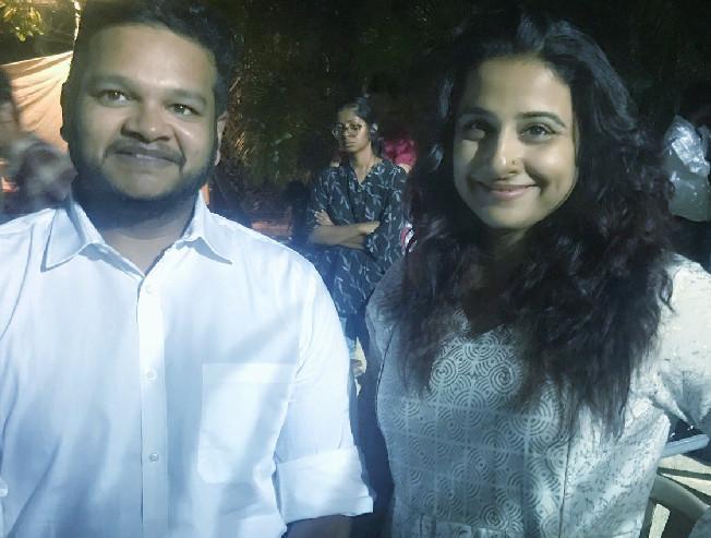 Ajith Kumar clicks a picture of Ghibran with Vidya Balan at the shooting spot of Nerkonda Paarvai