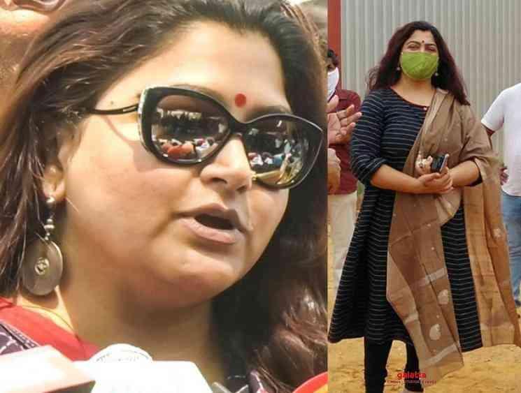 Khushbu shares post lockdown shooting post photos - Tamil Movie Cinema News
