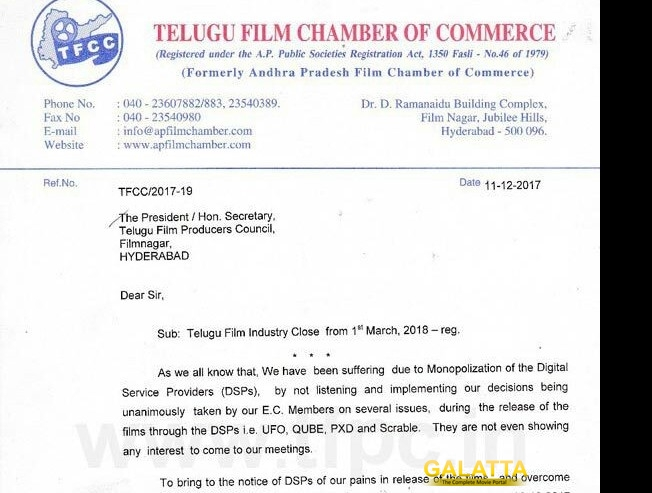 Breaking  Tollywood to come to a stand still