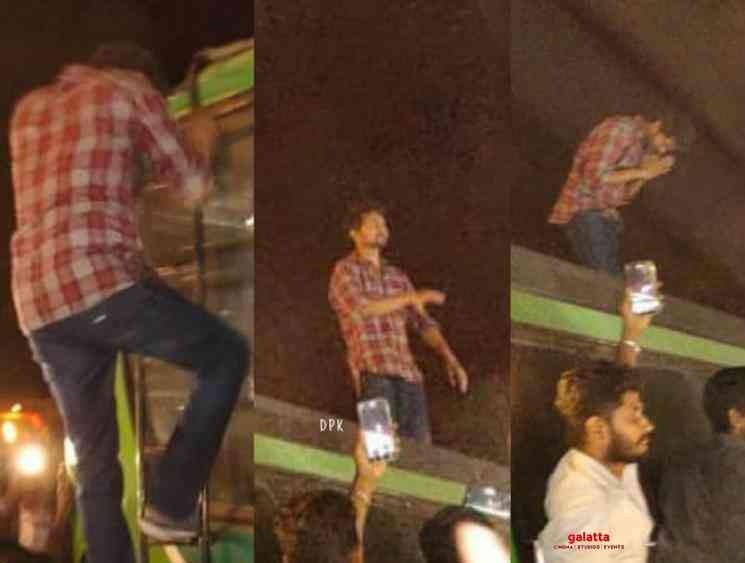 Vijay climbs on top of a bus for fans at Master shooting spot - Tamil Movie Cinema News