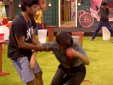 Did Sandy hit Losliya on purpose? Bigg Boss promo