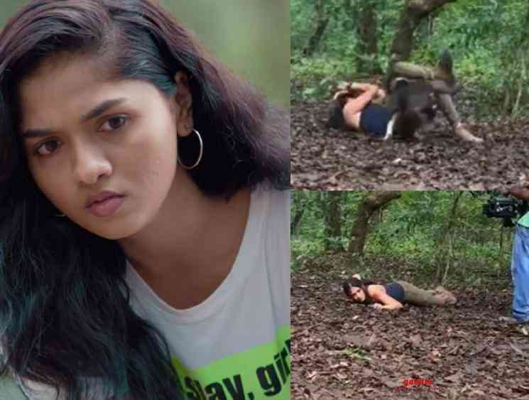 Sunainaa shares a making video from Trip pitbull dog attacks her - Tamil Movie Cinema News
