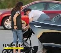 Mila and Ashton take their baby girl for a ride