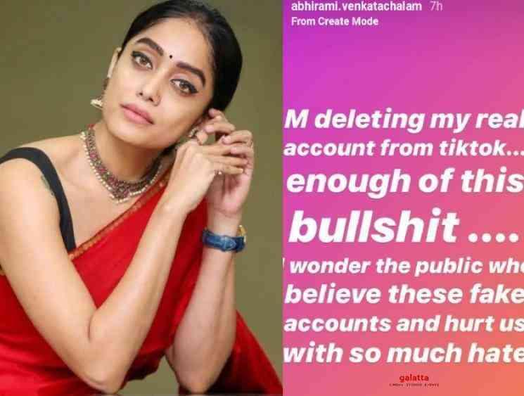 Bigg Boss fame Abhirami to quit TikTok due to fake profiles issue - Tamil Movie Cinema News