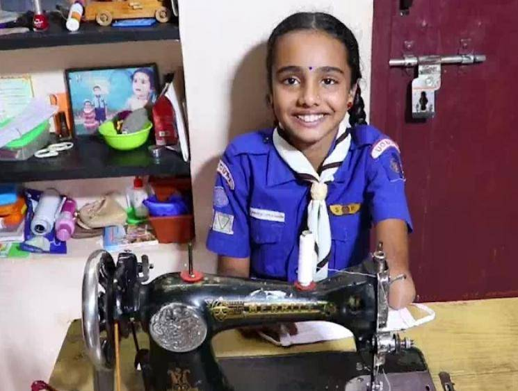 10-year-old specially-abled Class 6 girl stitches masks for students
