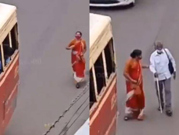 Kerala woman rushes behind bus so elderly blind man can board, netizens shower praise!