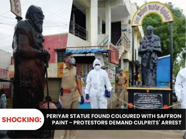 Saffron paint thrown on Periyar statue in Coimbatore